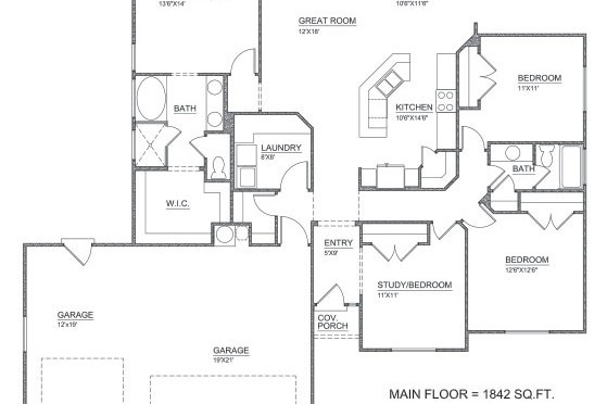 First Floor Plan image of Featured House Plan: PBH - 2803
